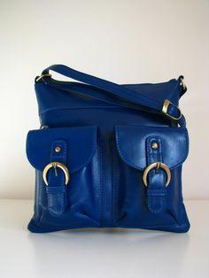 Leather Messenger Bag Shoulderbag Handbag Blue by TheLeatherStore, $105.00