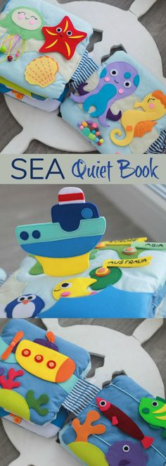 Quiet book SEA A perfect present for your baby! This is thematical tactile developmental toy intended for babies that enhances their fine motor skills. ⚓️ 3 pages: map with ship, submarine with fishes, sea inhabitants #quietbook #affiliate