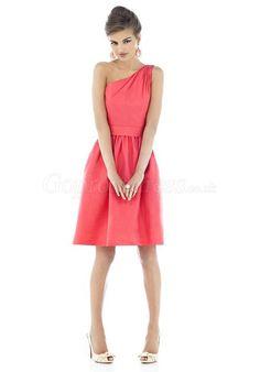 One Shoulder knee-length Watermelon Taffeta Bridesmaid Dress - Gopromdress.co.uk