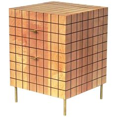 Grid Cabinet in Maple by Tate Pray | From a unique collection of antique and modern end tables at https://www.1stdibs.com/furniture/tables/end-tables/
