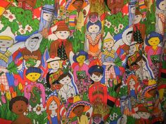 Rare Vintage 1970's Drapes 2 Panels Children of The World Retro Hippie Colorful   eBay