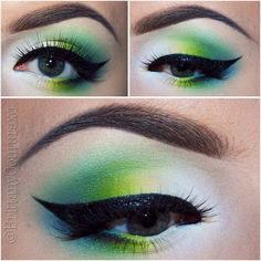 This eye makeup features an ombre effect of blue and green eye shadow shades accentuated with a black winged eye liner. Watch the video tutorial to learn the tricks and products used.
