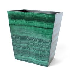 """""""Swap out an unassuming trashcan and upgrade with this emerald green malachite wastebasket from Dransfield Ross, who offer an assortment of stingray, onyx, and lacquered bath accessories to suit any style. Bath Accessories, Decorative Accessories, Green Apartment, Apartment Makeover, Small Space Design, Coral, Decorating Small Spaces, Elle Decor, Gemstone Colors"""