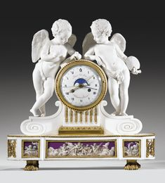 A GILT BRONZE MOUNTED PARIS PORCELAIN-BISCUIT BY THE MANUFACTURE OF THE DUKE OF ANGOULÊME, LOUIS XVI, THE DIAL SIGNED IN PARIS SCHMIT
