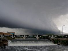 Beautiful wall cloud formation over the Stone Arch Bridge in Minneapolis, MN (taken 4.15.12)