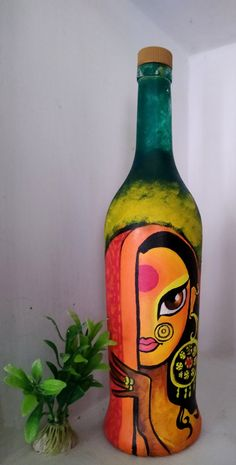 Glass Painting Patterns, Glass Painting Designs, Pottery Painting Designs, Plastic Bottle Art, Glass Bottle Crafts, Wine Bottle Art, Art N Craft, Diy Art, Painted Glass Bottles