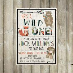 Wild One Birthday Invitation - Boy First Birthday Invite - Boho Tribal Animals - DIGITAL FILE by FavoriteThingsDesign on Etsy https://www.etsy.com/listing/508211217/wild-one-birthday-invitation-boy-first