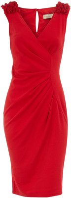 Red ruffle shoulder dress - Dorothy Perkins - Polyvore