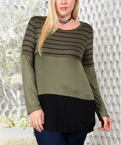 Olive Stripe Lace-Trim Tunic - Plus #zulily #zulilyfinds