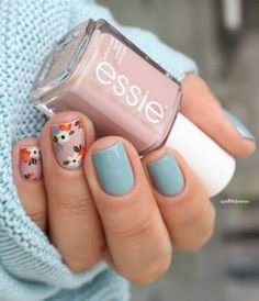 Essie Go go geisha & Udon know me // It's oh so sweet, shhh, shhh . – Otaku girl ❤🌸 Kirizaki neko Essie Go go geisha & Udon know me // It's oh so sweet, shhh, shhh . essie fall 2016 go go geisha udon know me pink and blue flower floral nail art Spring Nail Art, Nail Designs Spring, Nail Art Designs, Nails Design, Spring Design, Nail Art Flowers Designs, Nail Designs Floral, Nails With Flower Design, Fall Nail Art Autumn