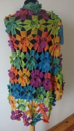 Multi colored long shawl/capelet/warmer/stole/scarf. by looplabs, $98,00