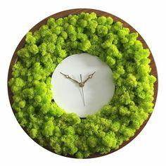Best 12 Reindeer Moss Clock by Noktuku – SkillOfKing. Moss Wall Art, Moss Art, Plant Wall, Plant Decor, Home Design, Wall Design, Island Moos, Moss Graffiti, Moss Decor