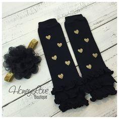 Gold glitter heart ruffle bottom leg warmers stockings leggings, black flower headband bow, newborn infant baby toddler little girl by HoneyLoveBoutique