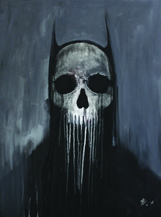Batman Painting of the iconic dark knight. This painting show black batman silhouette and a dripping skull for a face. Acrylic painting in canvas. Batman Painting, Batman Artwork, Skull Artwork, Batman Comic Art, I Am Batman, Skull Painting, Batman Robin, Gotham Batman, Batman Tattoo