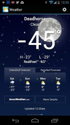 It's real cold in Deadhorse, Alaska!!  Wooo-Weee, -45, I Love it!!!!  I'll just bring a couple more blankets!!  :D   :D