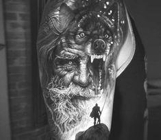 Odin the Allfather tattoo. Viking tattoo of Odin. Odin was the chief god in Asgard Viking Tattoo Sleeve, Skull Sleeve Tattoos, Wolf Tattoo Sleeve, Norse Tattoo, Viking Tattoos, Tattoo Symbols, Crow Tattoo Design, Viking Tattoo Design, Tattoo Designs