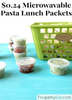 Make your own pasta lunch packets to store in the freezer. Makes three weeks worth of lunches (perfect to take to work). The cost is just $0.24 per packet!