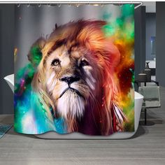 Colorful Male Lion Waterproof Mildewproof Polyester Shower Curtain Bathroom Decor with 12 Hooks