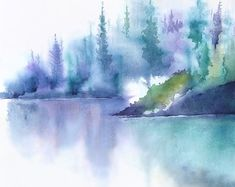 Landscape Painting Art Print Watercolor Painting by NancyKnightArt
