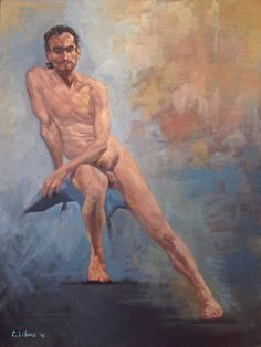 """Seated Nude Male, by Cyprian Libera, oil on canvas, 18 x 24"""""""