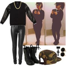 Leather x Camo., created by dopegenhope on Polyvore