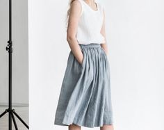 Linen skirt with deep pockets / A  line washed linen skirt in