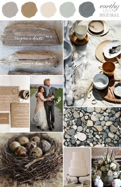 wedding colors combination: earthy and natural: grey, slate, brown, neutral