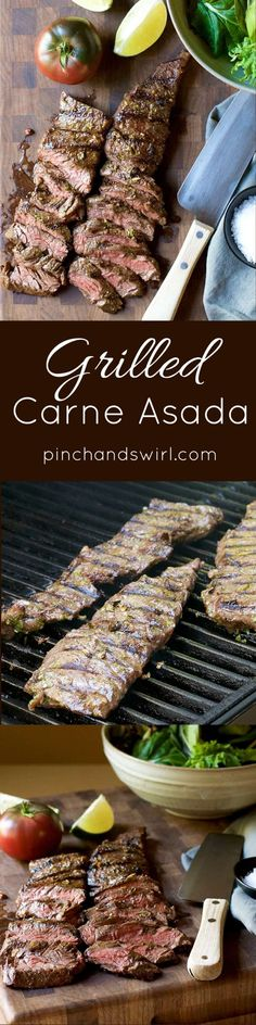 If you're looking for authentic Carne Asada - this is it! With a simple Carne Asada Marinade with fresh citrus juices and spices, you can make the most delicious Carne Asada recipes! Throw Carne Asada on the grill / BBQ and in less than 15 minutes you'll have dinner!