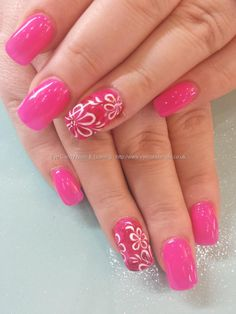 Gel 50 polish with marbelling and freehand flower nail art