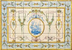 """""""Paisagem com casa, flores e grinaldas"""" Estilo D. Maria,  painel de 54 azulejos decoração policromada, reserva central a azul. Português  séc. XVIII/XIX"""