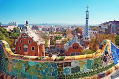 """Park Güell is a garden complex with architectural elements situated on the hill of El Carmel in the Gràcia district of Barcelona, Catalonia, Spain. It was designed by the Catalan architect Antoni Gaudí and built in the years 1900 to 1914."""