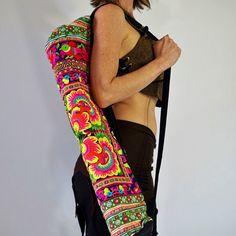 YOGA MAT BAG  Vibrant Colorful Embroidered Pilates Bag by Lokazu
