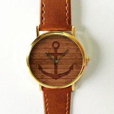 Anchor on Wood Watch, Nautical watch, Vintage Style Leather Watch, Women Watches, Unisex Watch, Boyfriend Watch, Men's Watch, Brown