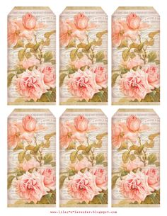 Etiquetas imprimibles gratis con rosas de color rosa - Free printable tags with pink roses