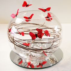 Ball Vase with Red Butterflies