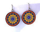 Moroccon Mandala Earrings -Psychedelic Rainbow Kaleidoscope Jewelry -Burning Man -Hippie Boho Burner Raver