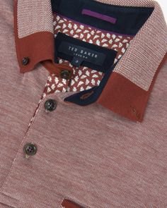 Colour block Oxford polo shirt - Brick Red | Tops & T-shirts | Ted Baker UK