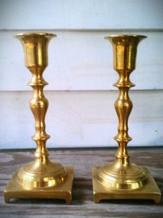 Vintage Solid Brass Candle Holders Set of by AmandolynCozyCottage, $18.00