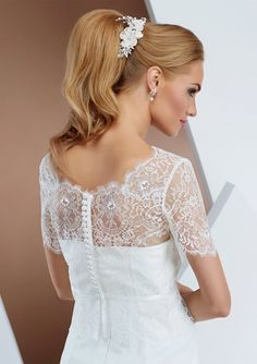 be-e196 Short sleeved bolero with delicate French lace