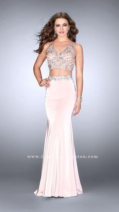 Graceful jersey two piece with a unique beaded top and belt. Features a sheer back.    Blush Prom Dress Style 24487   La Femme