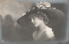 RPPC Real Photo Postcard Beautiful Edwardian Girl with Large Hat Looking Left | eBay