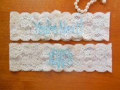 Monogrammed Garter Monogram Wedding Monogram by BloomsandBlessings