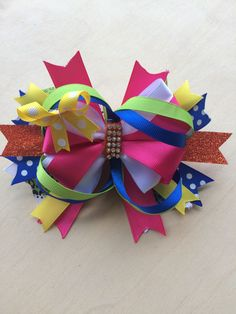 over the rainbow Boutique Bow by PincurlsNCrowns on Etsy