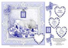 Teacup Kitten In Blue Frame 8 x 8 Card Topper on Craftsuprint - Add To Basket!