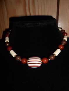 "Sarah Coventry Necklace 18"" Gold Tone Red Brown White Beads Lucite Christmas gif #SarahCoventry"