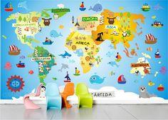 Children's World Map Wall Print, Educational World Map for Kids Playroom Decor, Animal World Map Poster Prints, Cartoon Maps for Kids Playroom Decor, Kids Decor, Book Wrap, Kids World Map, World Map Wallpaper, Maps For Kids, Adventure Nursery, Bird Book, Childrens Gifts