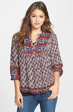 Lucky Brand 'Annabelle' Mixed Print Peasant Top available at #Nordstrom