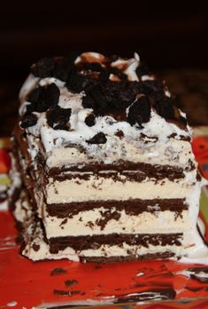 Ice Cream Sandwich Cake. Ingredients: ice cream sandwiches, whipping cream, magic shell caramel & chocolate. Optional: oreos, candy bars, nuts