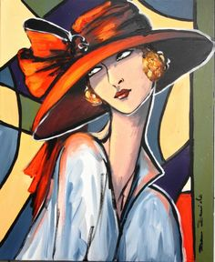 """""""La dame à la capeline rouge..."""" par Dam Domido (Peinture),  50x61 cm par Dam Domido Portrait rétro, style art déco, peinture à l'huile sur toile sur châssis en bois"""