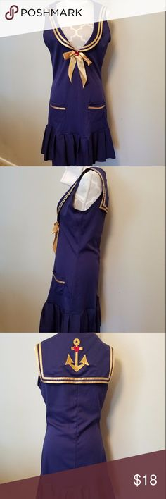Dreamgirl Sea Side Pin Up Costume - Navy Blue - XS Hey sailor knit sailor dress with embroidered back collar, sailor's hat ...used once by  my 12 yr old daughter Can be used for a girl ( teen)  size  12 girls Dreamgirls Other